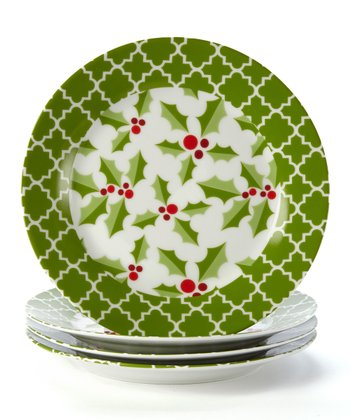 Holly Sprig Plate - Set of Four