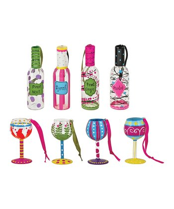 Wineglass & Bottle Ornament Set