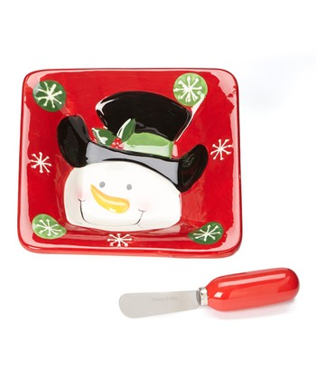 Red Snowman Dip Bowl & Spreader