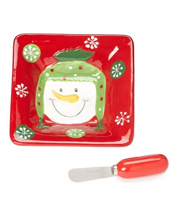 Holiday Snowman Dip Bowl & Spreader