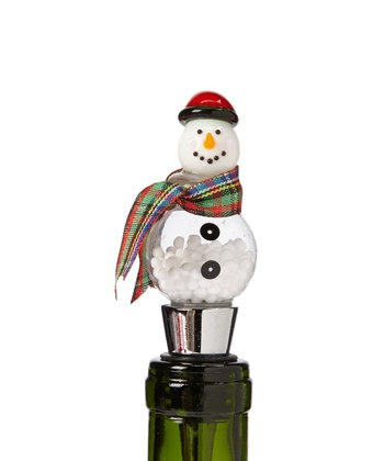 Plaid Snowman Globe Bottle Stopper