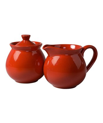 Red Creamer & Sugar Container Set