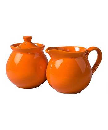 Orange Creamer & Sugar Container Set