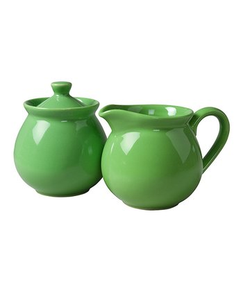 Green Apple Creamer & Sugar Container Set