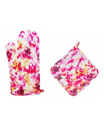Breast Cancer Ribbon & Floral Oven Mitt & Pot Holder