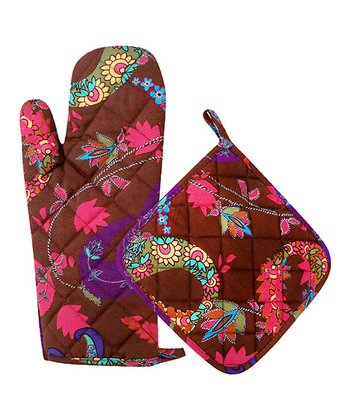 Chocolate Paisley Oven Mitt & Pot Holder