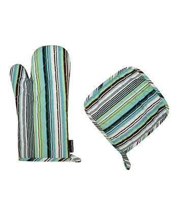Spring Stripe Oven Mitt & Pot Holder