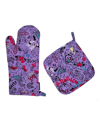 Graphitti Girls Oven Mitt & Pot Holder