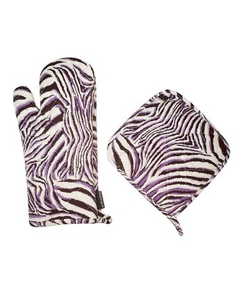 Purple Zebra Oven Mitt & Pot Holder