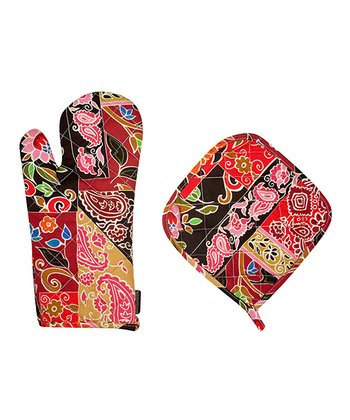 Folkloric Patch Oven Mitt & Pot Holder