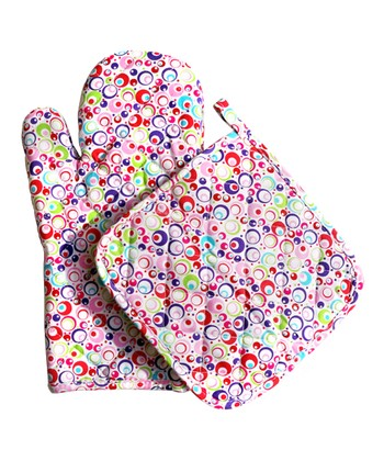 Pink Swirl Oven Mitt & Pot Holder