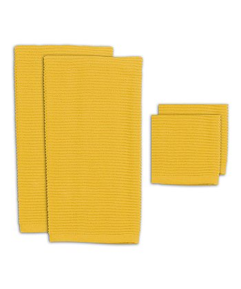 Canary Ribbed Kitchen Towel & Dishcloth Set