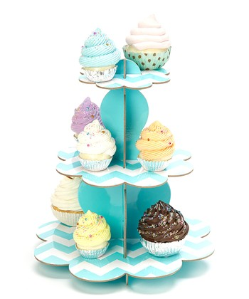 Turquoise Three-Tier Cupcake Stand