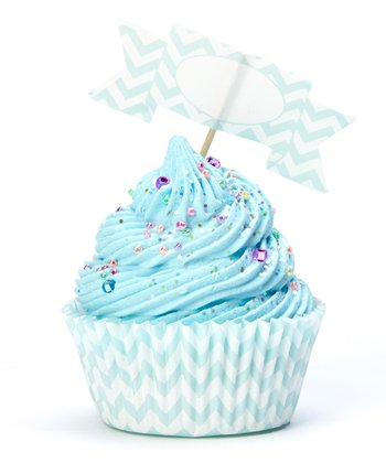 Turquoise Zigzag Cupcake Wrapper & Flag Set