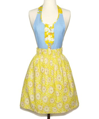 Yellow & Blue Lenox Apron - Women