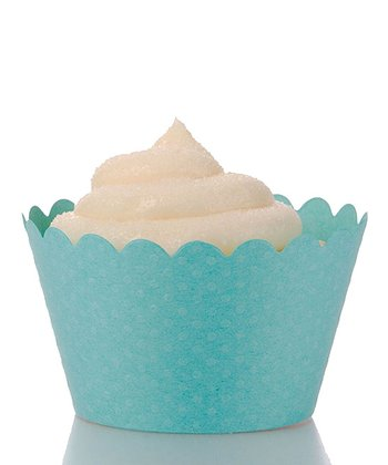 Tiffany Blue Polka Dot Cupcake Wrapper - Set of 12
