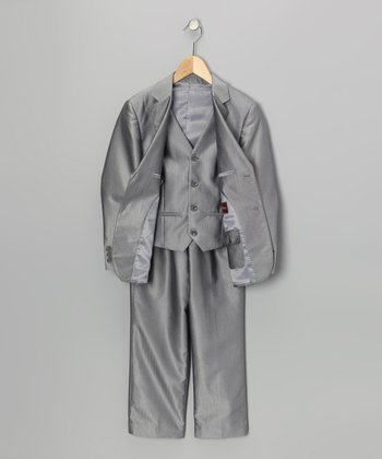 Light Gray Three-Piece Suit Set - Toddler & Boys