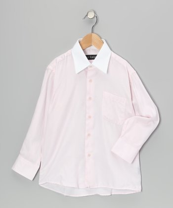 Pink & White Button-Up - Boys