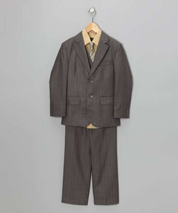 Taupe Five-Piece Suit Set - Boys