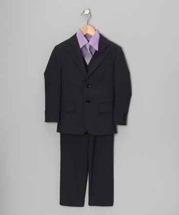 Dark Navy & White Five-Piece Suit Set - Toddler & Boys