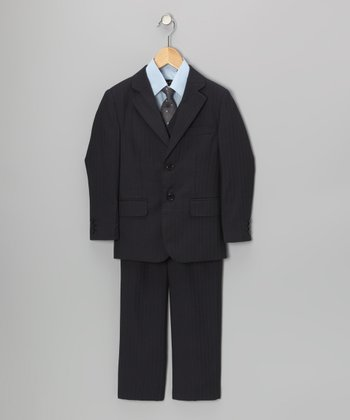 Navy & White Five-Piece Suit Set - Toddler & Boys