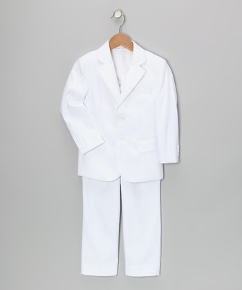 White Three-Piece Suit Set - Toddler & Boys