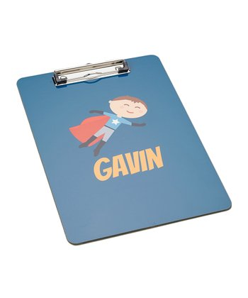 Brown-Haired Super Boy Personalized Clipboard