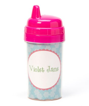 Blue Flower Personalized Sippy Cup
