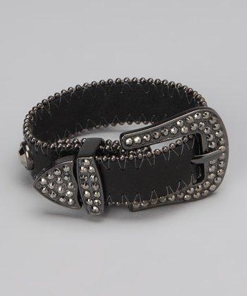 Black Studded Belt Buckle Bracelet