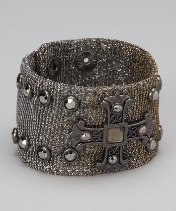 Silver Studded Cross Mesh Bracelet