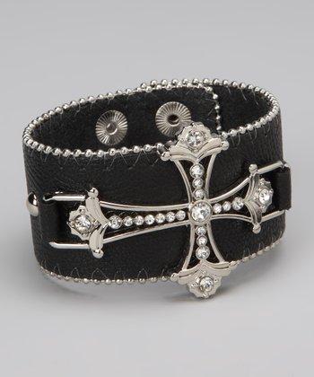 Black Leather Cross Bracelet