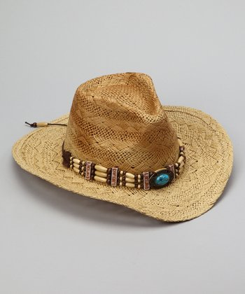 Natural Beaded Band Cowgirl Hat