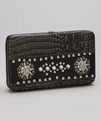 Black Rhinestone Crocodile Wallet