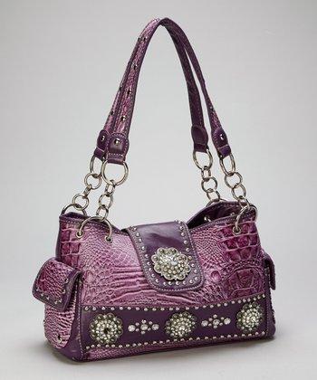 Purple Rhinestone Crocodile Shoulder Bag