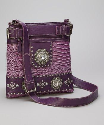 Purple Rhinestone Crocodile Crossbody Bag