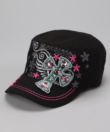 Black & Pink Crystal Beaded Cross Cadet Cap