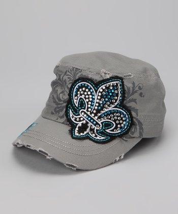 Gray & Blue Crystal Fleur-de-Lis Cadet Cap