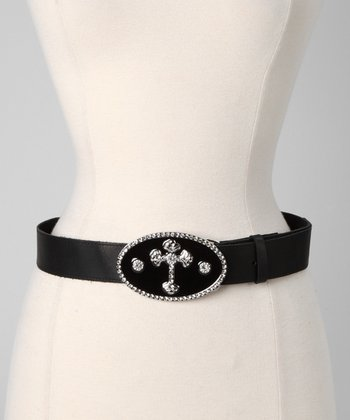 Black Rhinestone Cross Oval Buckle Belt