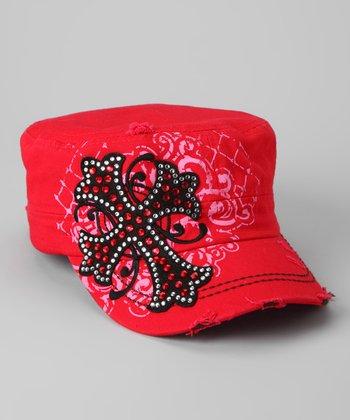 Red Rhinestone Cross Newsboy Hat