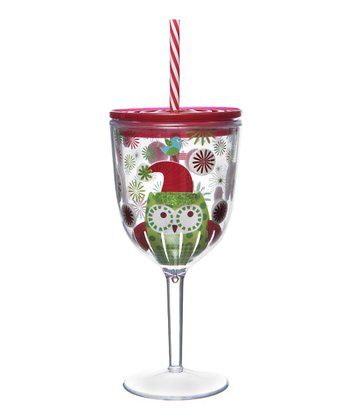 Holiday Owl 13-Oz. Acrylic Wine Glass