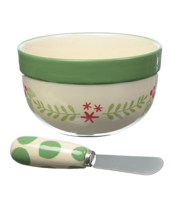 Be Merry Ceramic Dip Bowl & Spreader