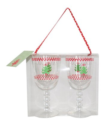 Christmas Tree Acrylic Wineglass - Set of Six