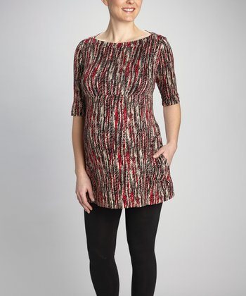 Red Stripe Maternity Tunic