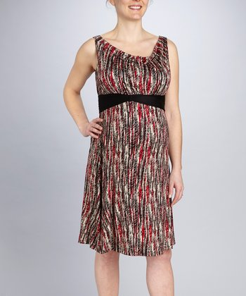 Red Stripe Think Maternity & Nursing Dress