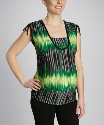 Green Stripe Maternity & Nursing Top
