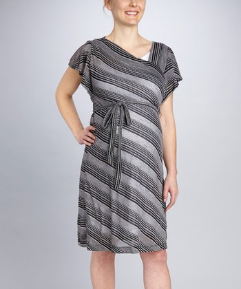 Black Stripe Maternity Tie-Waist Dress