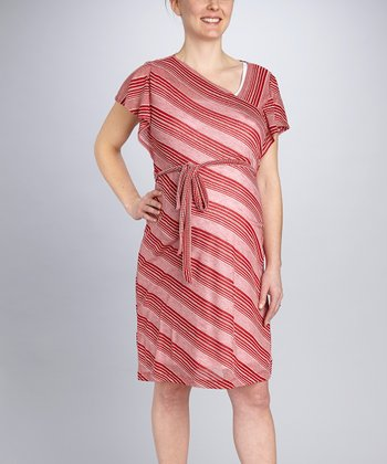 Red Stripe Tie-Waist Maternity Dress