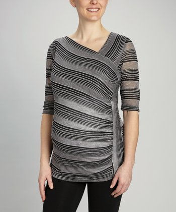 Black Diagonal Stripe Maternity Top
