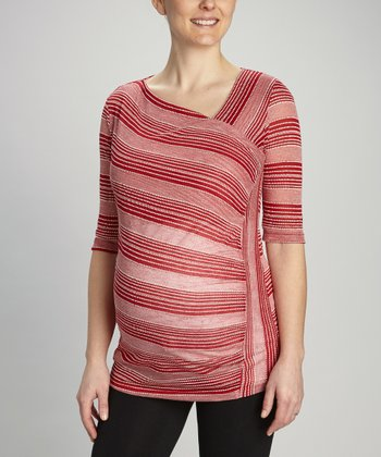 Red Diagonal Stripe Maternity Top