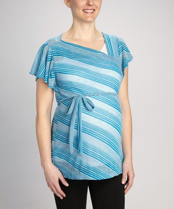 Blue Stripe Maternity Angel-Sleeve Tunic